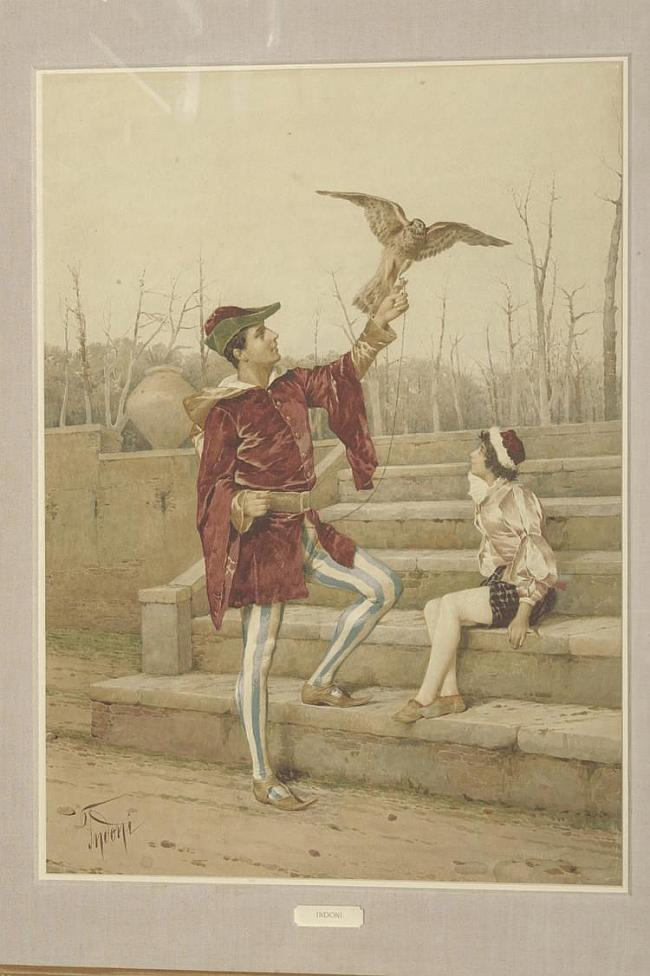 Filippo Indoni (1800-1884) Italian Falconer and young boy on stone steps