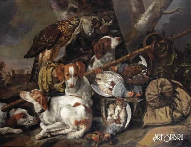 Hunting still life in landscape by Flemish artist Carstian Luyckx (1623-circa 1675)