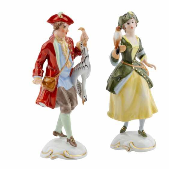 Lot 605. Rosenthal  Group 2 figurines of Lady Falconer and Falconer 20th century