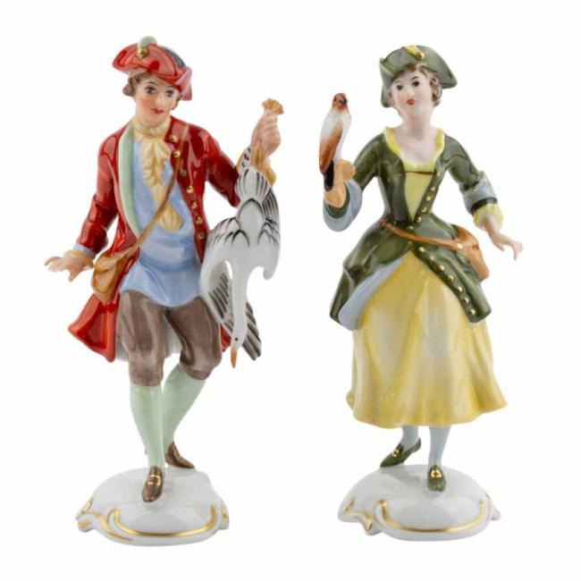 Lot 605. Rosenthal  Group 2 figurines of Lady Falconer and Falconer 20th century 2