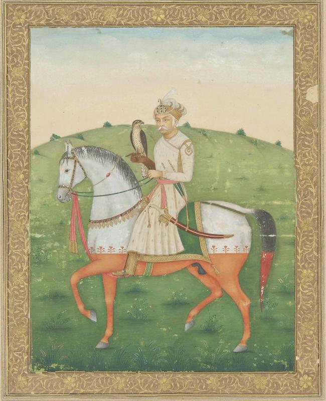 AN EQUESTRIAN PORTRAIT OF THE EMPEROR AKBAR HAWKING
