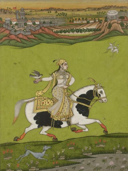 Chand Bibi hawking by artist India, 18th century Deccan School