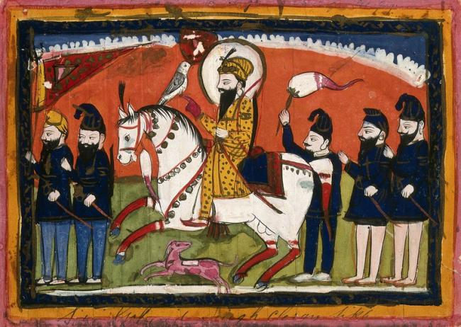 Sri Gobind Singh on horseback with his falcon and attendants.