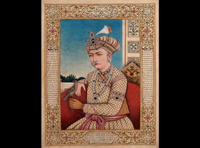 A Mughal emperor or member of a royal family, with a falcon (?) pirched on his hand.