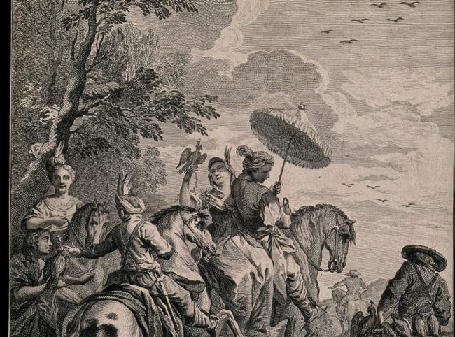 A hunting party with falcons. Engraving by S.F. Ravenet after Carle Vanloo.