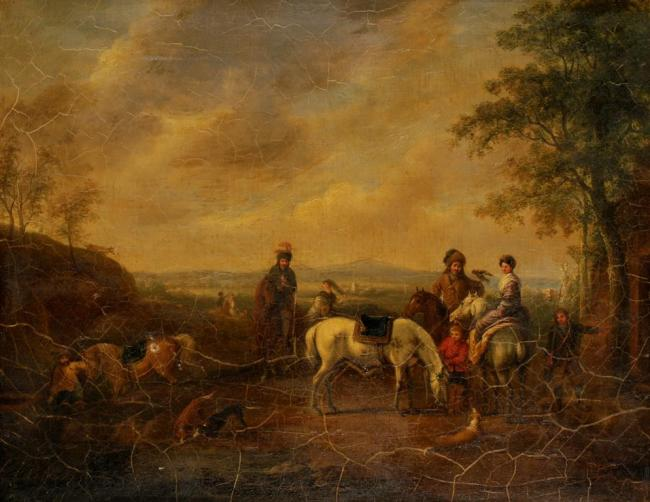 Lot 1016. CONTINENTAL SCHOOL, 18th century Figures preparing for a falconry hunt