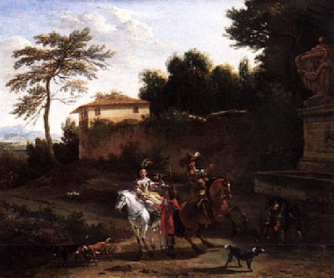 A falconry party before the walls of a villa by Nicolaes Petersz Berchem (1620-1683)