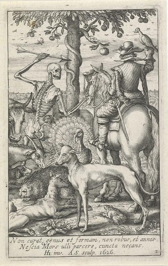 Skeleton With Arrow And Falconer, In The Midst Of Animals, Andries Jacobsz.