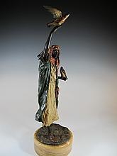 Lot 96: Antique Orientalist Vienna bronze falconer