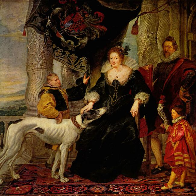 Alethea Talbot with attendants and Sir Dudley Carleton, c. 1620.