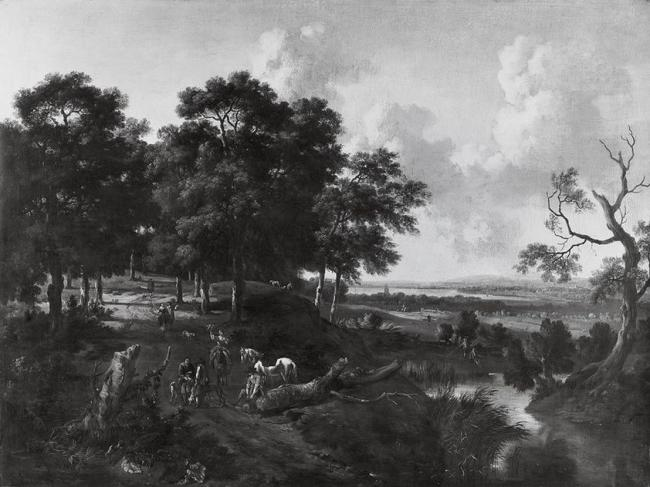 Landscape with a falconer by Jan Wynants made in 1675