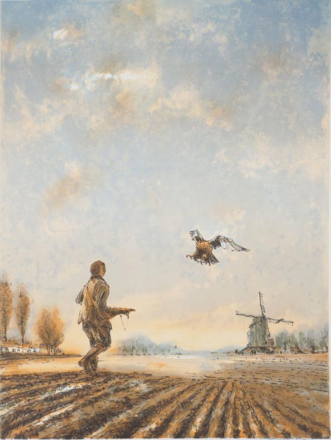 Falconer near the mill by Aimé Daniel STEINLEN (1923-1996)