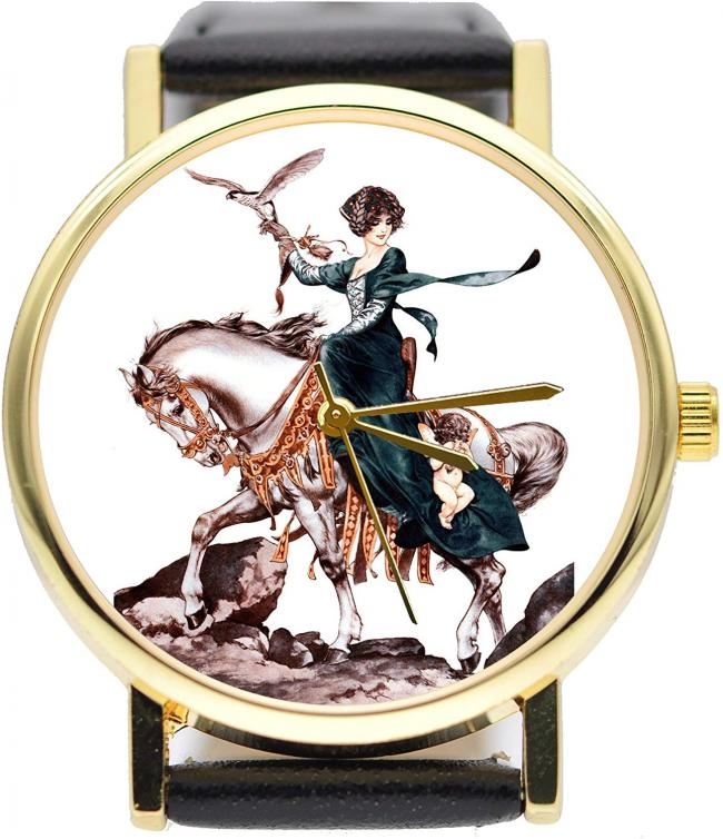 Woman Falconer on Horse Catches Cupid Watch Vintage Style Watch (Black)