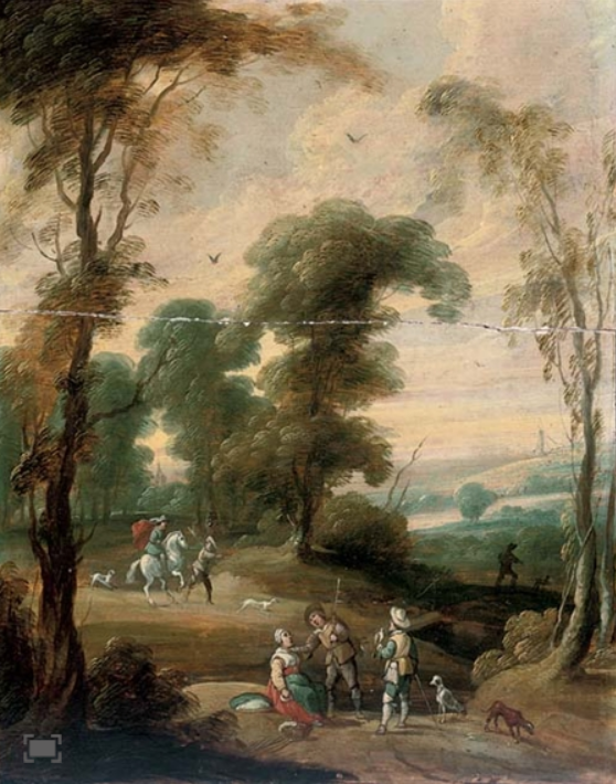 A wooded landscape with a hawking party on a track by circle of Flemish artist Lucas van Uden (18 O