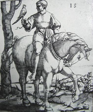 Young falconer on horse with hunting bird, 16th century
